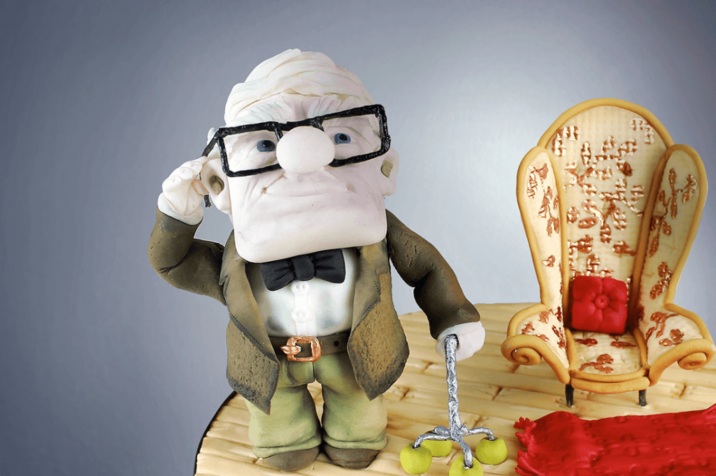 Pixar's UP Cake With Grandpa Carl Topper. Video Included